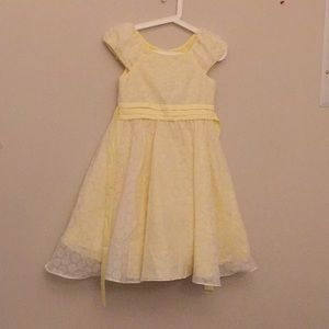 Yellow Summer Dress with 3 Layers and Belt